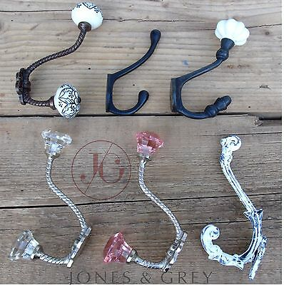 Antique Vintage Old Style Cast Iron Metal Wall Door Coat Hat Key Hooks Hangers