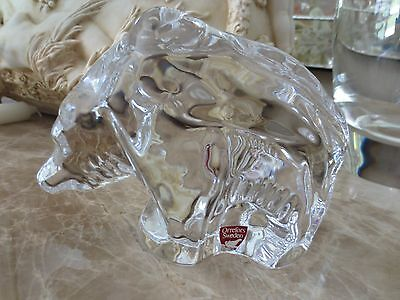 """ORREFORS SWEDISH CRYSTAL ART GLASS LARGE GRIZZLY BEAR FIGURINE PAPERWEIGHT,6"""" L"""