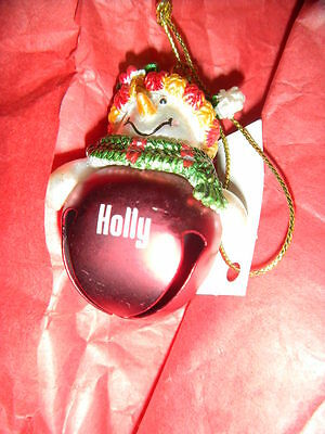 SNOWMAN BELL ORNAMENT PERSONALIZED 'HOLLY' BY GANZ