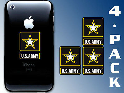 4-Pack: 1x1.5 inch US Army Logo Cell Phone Stickers -decal small soldier gi mini