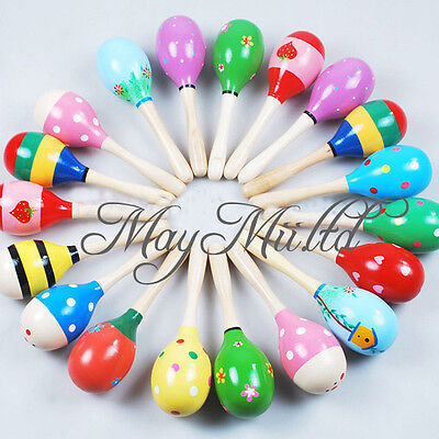 Percussion Musical Instrument Rattle Sand Hammer Baby Kid Child Wooden Ball Toy