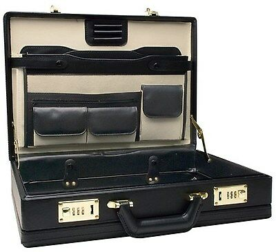 Leather Briefcase Laptop Business Black Brief Case Combination Lock Travel NEW