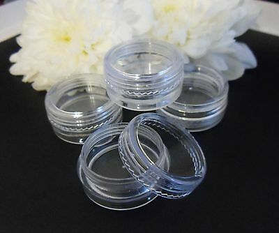 5ml/g Clear Plastic Pot Jar Nail Art Glitter Cream Travel Make Up Bead Screw Top