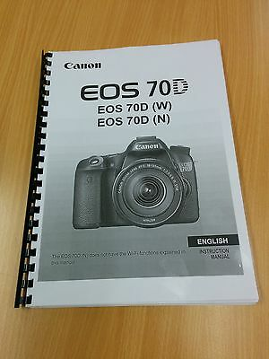 Printed Canon EOS 70D Digital Camera Instruction Manual / User Guide