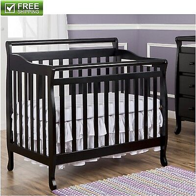 """Convertible Baby Bed 3 In 1 Crib Black Nursery Bedroom With 1"""" Mattress Pad New"""