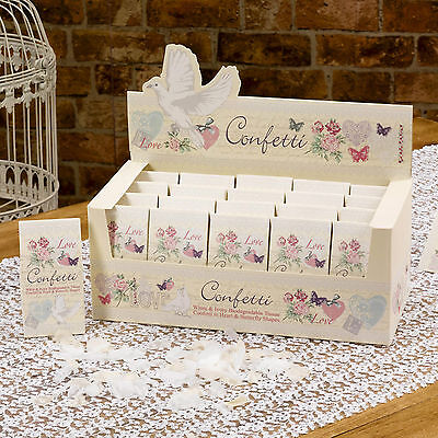 WEDDING CONFETTI Biodegradable Vintage WITH LOVE White Ivory Hearts Butterfly