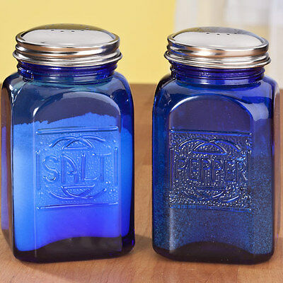 NEW COBALT BLUE 2 pc Salt Pepper Shakers DEPRESSION GLASS Shakers Retro Embossed