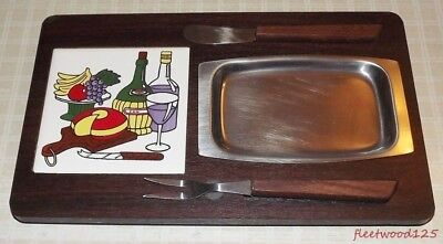 Vintage Wooden Cheese Board w/ Stainless Steel Tray Knife Fork Porcelain Tile
