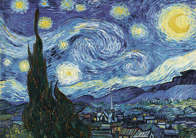 Van Gogh - Starry Night A3 size (29.7x42cm) QUALITY Canvas Print Poster Unframed
