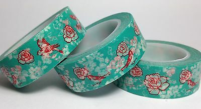 Washi Tape Red Birds On Teal 15Mm Wide X 10Mtr Roll Scrapbooking Craft Wrap