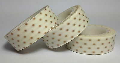 Washi Tape Gold Polkadots 15Mm  X 10Mtr Scrap Planner Craft Wrap Mail Art