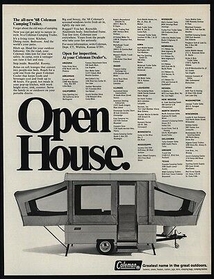 1968 COLEMAN Camping Trailer - Tent Trailer - Open House - Camp - VINTAGE AD