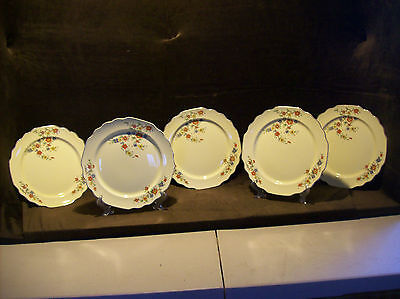 "LIDO CANARYTONE W.S. GEORGE RED, YELLOW & BLUE FLORAL PATTERN 9 1/2"" PLATES"