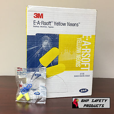 3M E-A-R Yellow Neon Disposable Earplugs Corded 311-1250 Nrr 33 (200 Pair Box)