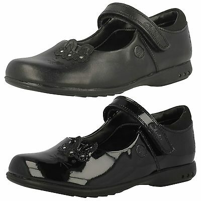 Girls Trixi Beau Black Patent T-Bar School Shoe by Clarks SALE £19.99