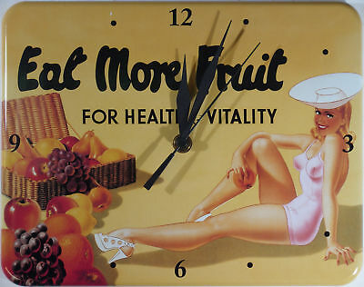 Eat more Fruit Pin Up Blech Uhr Flach Neu   20x26cm U531