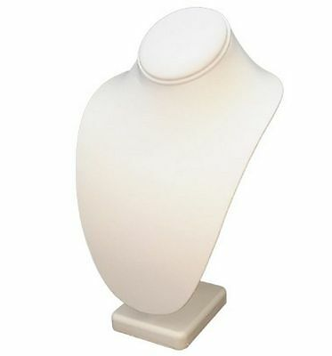 """6 3/4""""H White Leatherette Necklace Bust Display Necklaces Pendant High Quality"""