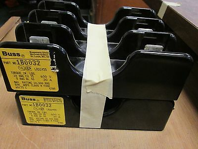 Bussmann  Fuse Block  1B0032  *Lot of 2*  30A  600V  3P   Used