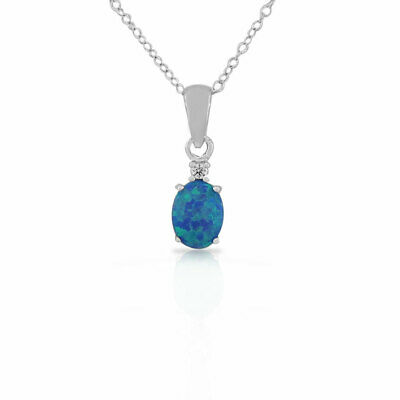 Sterling Silver Blue Turquoise-Tone Crystal CZ Oval Opal Pendant Necklace