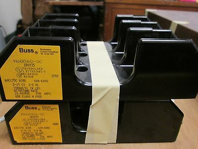 Bussmann  Fuse Block  H60060-3C  60A  600V  3P  Lot of 2  Used