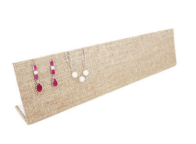 """12""""x1 3/4""""x2 3/4"""" Beige Burlap Earrings and Necklace L-Shaped Jewelry Display"""
