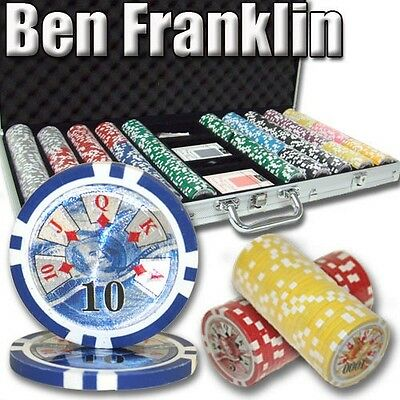 New 750 Ben Franklin 14g Clay Poker Chips Set with Aluminum Case - Pick Chips!