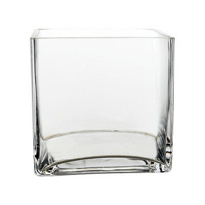 "Clear Square Glass 4"" Cube Vase Centerpiece Home Floral Centerpiece Decor - 6pcs"