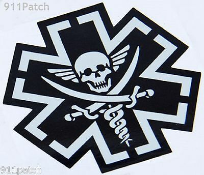 Tactical Combat Medic BLACK Pirate EMT Fire Rescue First Responder Decal Sticker