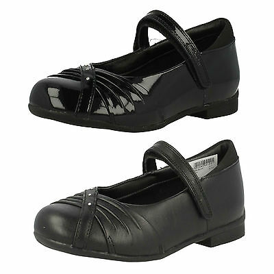 Sale Clarks Girls Dolly Shy Diamante Riptape Leather Patent School Shoes £15.00