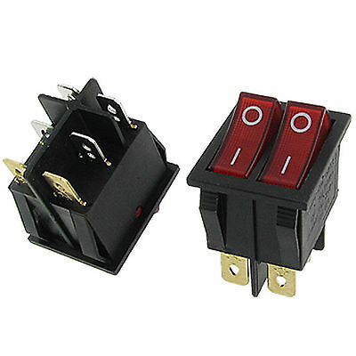 2pcs Double Red Light Illuminated 6 Pin SPST ON/OFF Snap IN Boat Rocker Switch