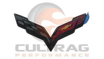 2014-2019 C7 Corvette Genuine GM Carbon Flash Black Front Bumper Emblem 23183715