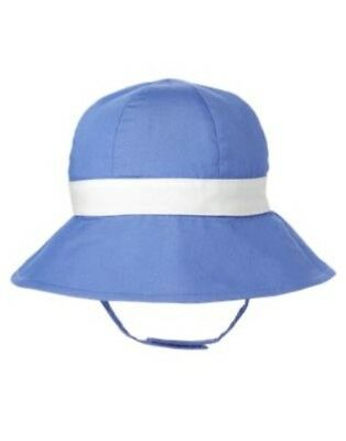 GYMBOREE ALL RUFFLED UP BLUE w/ WHITE RIBBON N BOW SUN HAT 0 3 6 12 18 NWT