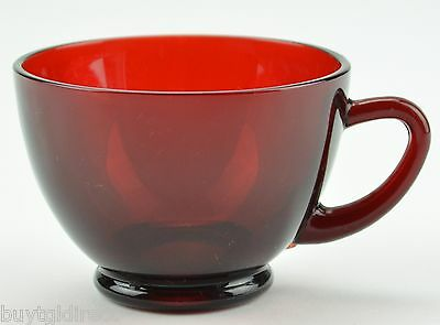 Ruby Red Footed Tea Cup Retro Flat Collectible Coffee Vintage Decor Crystal