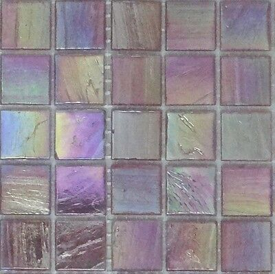 25pcs Bisazza Gloss Pearl GL 10 Fuchsia Glass Mosaic Tiles 20mm x 20mm x 4mm