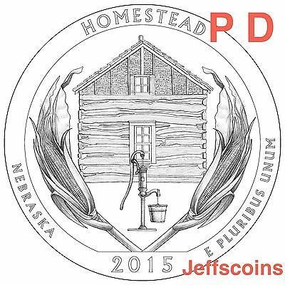 2015 P D Homestead National Park QUARTER Nebraska New U.S. Mint 4 Coins 2x PD