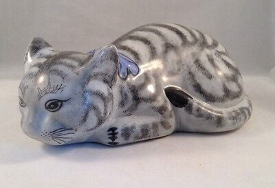 Ceramic Grey Tiger Cat with blue bow Figurine Made in China
