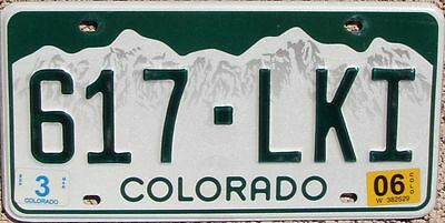 COLORADO Green Mountains License Plate  - Random Letters - CO