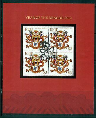 FIJI Sc1277 Used 2012 Year of the Dragon sheet of 4 SCV$14