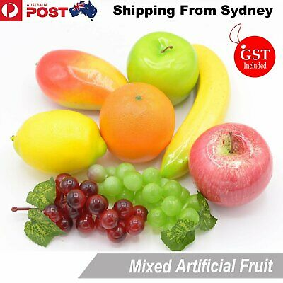 MIX Lifelike Artificial Fake Fruit Bar kitchen Bunch Display Lemons Apples