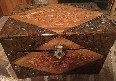 Antique Chinese High Relief Carved Camphor Wood Box Chest