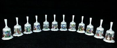 "RARE Vintage ""The Romance of Camelot"" Fine Bone China 24K Gold Trim Bells (12)"