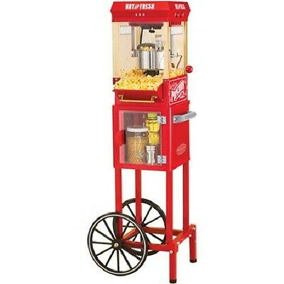 Nostalgia Electrics Popcorn Cart Machine Popper Maker Vintage Red Stand Movie
