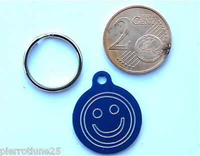 MEDAILLE GRAVEE RONDE SMILEY BLEU CHATON CHAT collier medalla cane hund katze