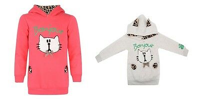 Girls Kids Kitty Cat Kitten Pink Cream Hoodie Hooded Jumper Xmas Winter Age 2-8