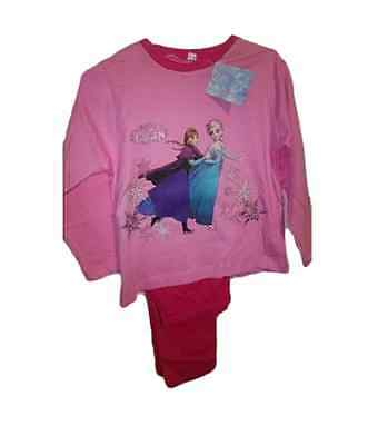 Girls Official Disney Frozen Pyjamas Long Sleeve Pink Elsa Anna Xmas Age 4-10
