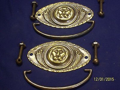 Pair of Early Reclaimed Brass Lions Head Drawer  Pulls V102