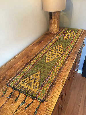 Sumatran Table Runner Hand Woven Cane Natural Matt Sideboard Coffee Table Ethnic