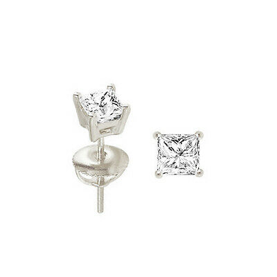 Princess Cut Solitaire Stud Earrings 1.0 ct Screw Back Solid 14k Real White Gold