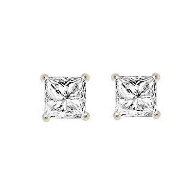 Princess Cut Solitaire Stud Earrings 1.50ct Screw Back Solid 14k Real White Gold