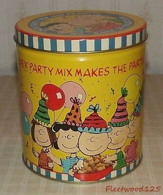Vintage 1990 Peanuts Characters Chex Mix 40 Years of Tradition Tin Container